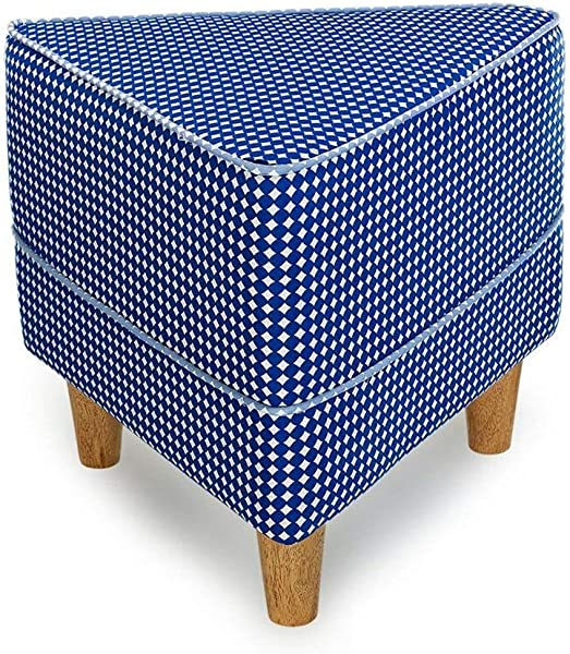 Carl Artbay Wooden Footstool Navy Blue Triangle Wave Point Printing Wearing A Shoe Stool Cloth Change The Shoe Stool Modern Stool Home