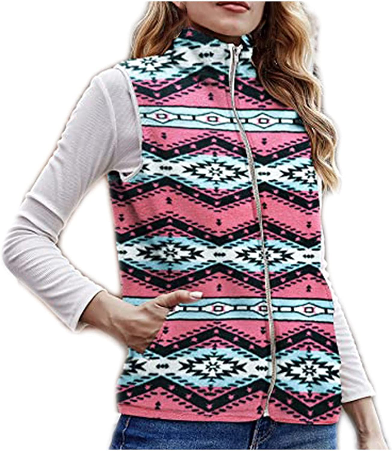 Kanzd Sweater Popular brand in the world Vest for Las Vegas Mall Women Casual Vintage Ge Up Zip Sleeveless