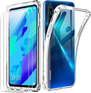 Reshias Funda para Huawei Nova 5T con Dos Cristal Templado Protector de Pantalla,Suave TPU Transparente Gel Silicona Anti ...