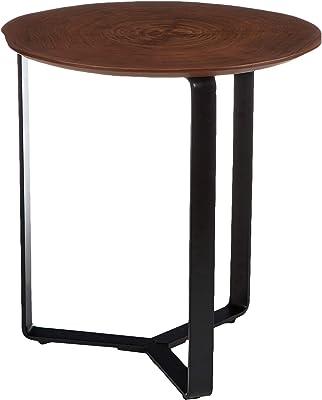 Marque Amazon - Rivet Table d'appoint, 48x51cm, Finition noyer/métal noir