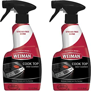 Weiman Ceramic & Glass Cooktop Cleaner - 12 Ounce 2 Pack - Daily Use Professional Home Kitchen Cooktop Cleaner and Polish Use On Induction Ceramic Gas(Biodegradable,Two 12oz Bottles)