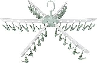 Swivel Hook Plastic 36 Pegs Drying Rack Clothes Hanger for Underwear Socks Gloves (Green)