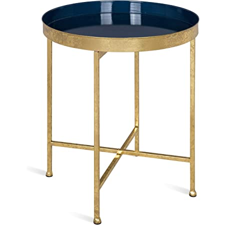 """Kate and Laurel Celia Metal Foldable Round Accent Table, 18.25"""" x 18.25"""" x 22"""", Navy Surface and Gold Frame, Modern Minimalist Design and Detachable Magnetic Tabletop"""