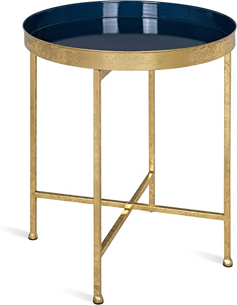 Kate And Laurel Celia 18 Inch Round Metal Foldable Tray Accent Table Navy And Gold