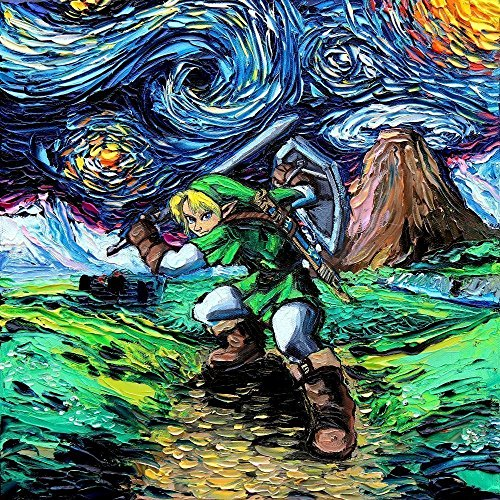 Legend of Zelda - Link - Video Game Art - PRINT - Nintendo - van Gogh Never Saw Hyrule - Art by Aja 8x8, 10x10, 12x12, 20x20, 24x24 inches