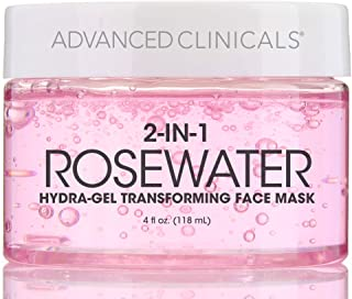 Advanced Clinicals Rosewater Mask for Fine Lines, Dry Skin, Puffiness. 2-in-1 overnight sleep mask with Bulgarian Rose, Coconut Oil, and Natural Fruit Extracts. 4 fl oz (118ml) (4oz)