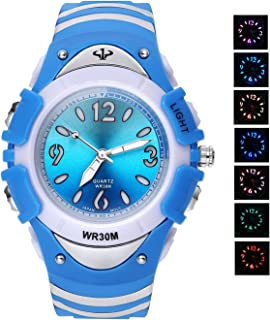 AZLAND Quartz Analog Colorful Led Lights Digital Childrens Boys Girls Watch Kids Blue