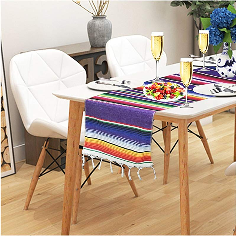 GenMo Mexican Serape Table Runner Dining Coffee Kitchen Outdoor Picnic Decorative Table Runner Long Colorful Striped Fringe Cotton Table Runner For Mexican Birthday Party Wedding Holiday Decorations