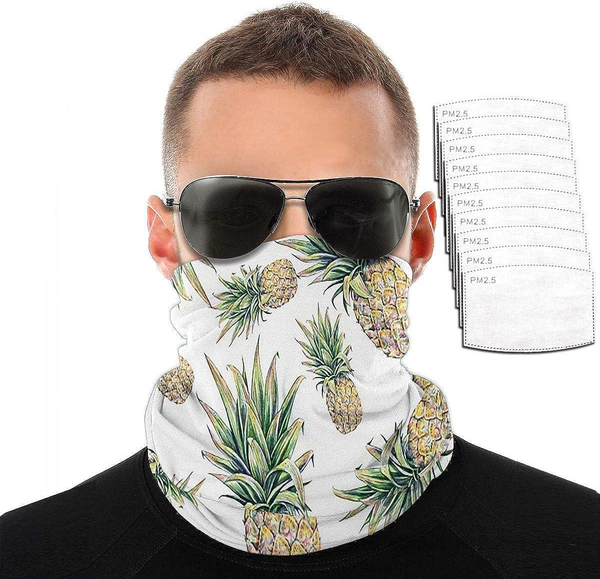 KiuLoam Bandana Face Mask Reusable,Stylish Tropical Pineapple Fruits Neck Gaiter Balaclava for Women Men