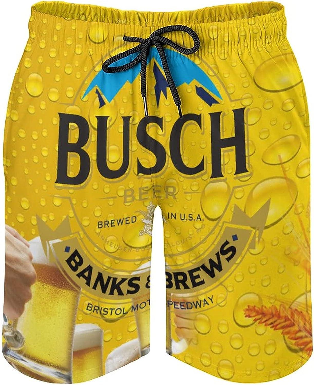 JANKE Beer Theme Men's Beach Shorts Swim Trunks Quick Dry Board Shorts Drawstring Waist with Mesh Lining