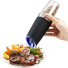 Salt and Pepper Grinder,Sweet Alice Stainless Steel Pepper Mill and Salt Mill with Automatic Battery Powered, Adjustable Grind Coarseness Ceramic Mechanism Blue LED Light