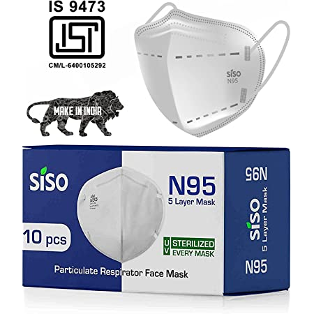 Siso N95 5 Layer Face Mask FFP2 Reusable/washable* (Pack of 10) - ISI Mark/BIS Certified - White