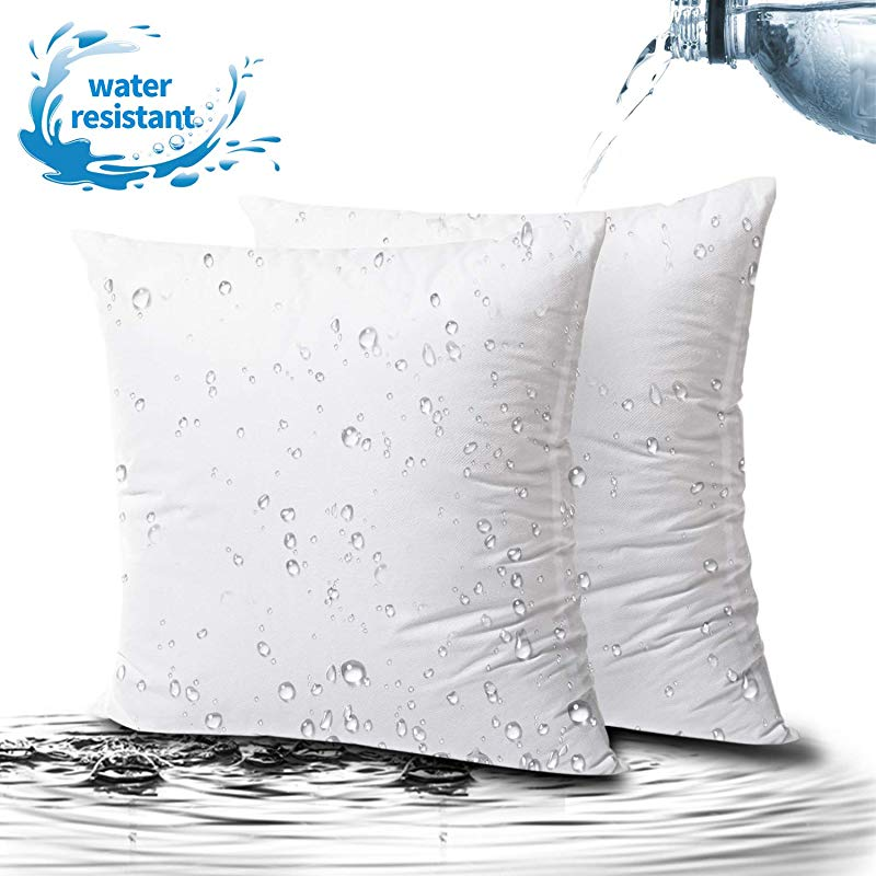 Phantoscope 2 Packs Outdoor Anti Mold Water Resistant Throw Pillow Inserts Hypoallergenic Square Form Sham Stuffer 22 X 22 Inches