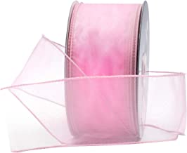 """Light Pink Organza Wired Sheer Ribbon 2.75"""" (#40) for Floral & Craft Decoration, 50 Yard Roll (150 FT Spool) Bulk by Royal Imports"""
