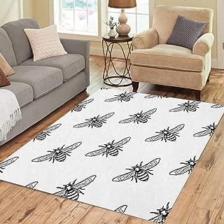 Pinbeam Area Rug Black and White Pattern Linear Bee Organic Honey Home Decor Floor Rug 3' x 5' Carpet