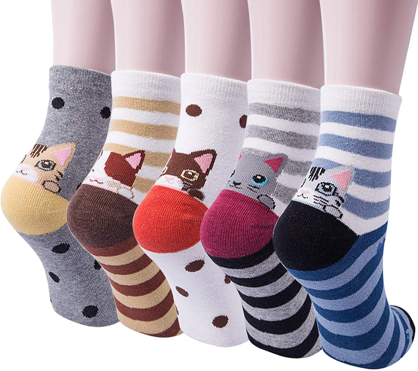 Panvbo 5 Pairs Womens Cute Animal Socks Cat Dog Funny Casual Cotton Socks