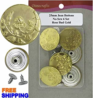 JBDIYME 25 mm No-Sew Rose Bud Jean Tack Buttons CT. 6 (Gold)