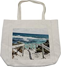Lunarable Australia Shopping Bag, Scenic Photo of Rottnest Island Beach Heavenly Shoreline Sandy Footpath, Eco-Friendly Reusable Bag for Groceries Beach and More, 15.5