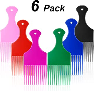 Plastic Wide Hair Pick Comb, 6.5 Inch Smooth Hair Pick Comb, Afro Hair Comb, Hairdressing Styling Tool for Natural Curly Hair, Assorted Colors (6 Pieces)