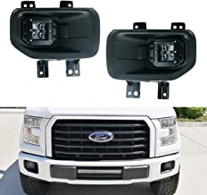 iJDMTOY Projector LED Fog/Driving Lamp Kit For 15-up Ford F150, 17-up Super Duty, Includes (2) 10W 4D Projector Lens CREE LED Pod Lights, Pair of H10 Pigtail Wires & Hinge Brackets