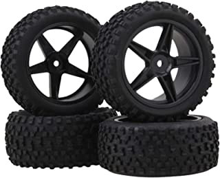 HONG YI-HAT 4Pcs Front Rear Pentagram Plastic Wheel Rims + High Grip Rubber Tires Tyres for RC 1:10 Off-Road Car Buggy スペア...