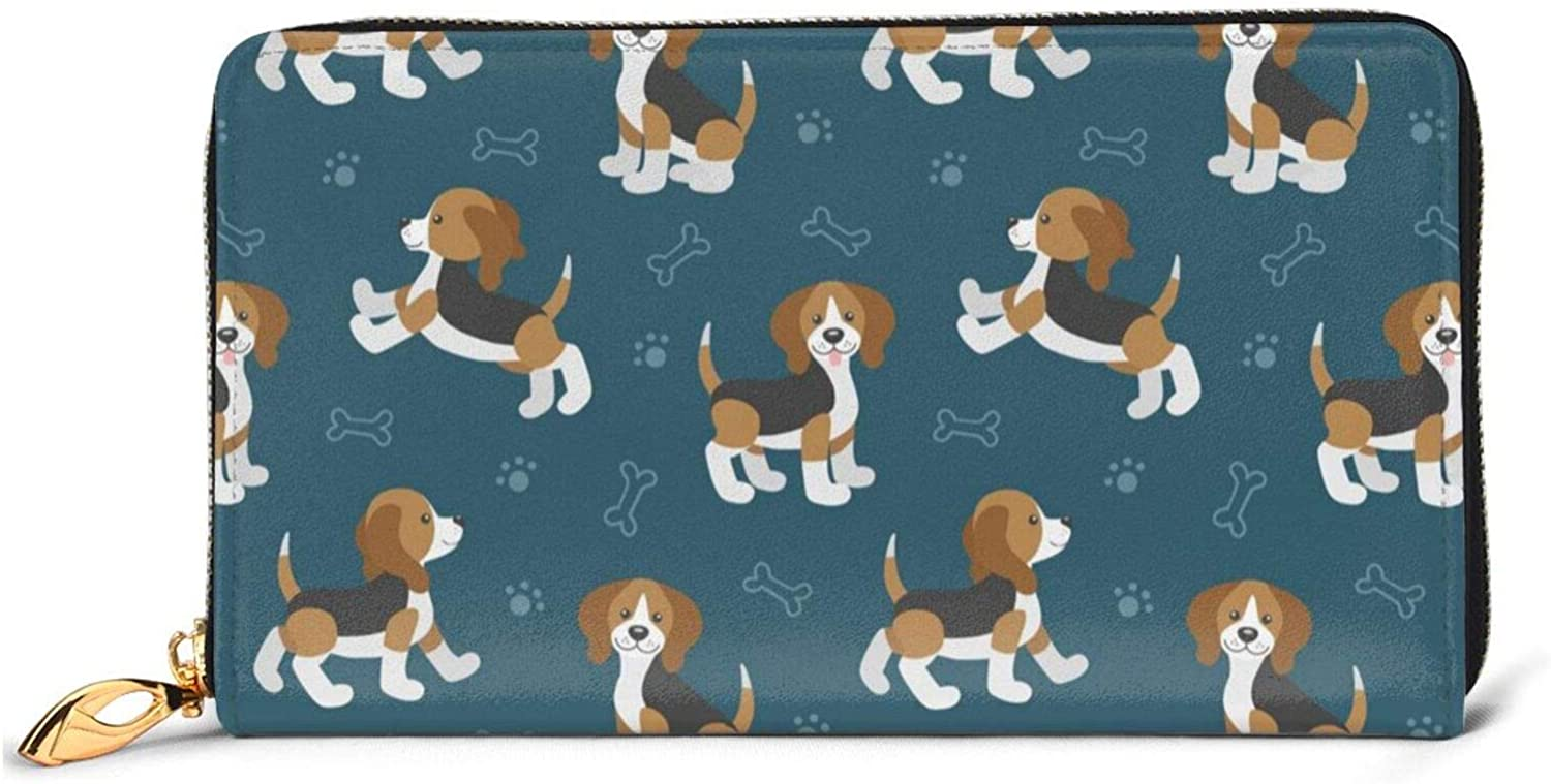 Leather Wallet Cute Beagle Dog Slim Printed Milwaukee Mall Women Outlet ☆ Free Shipping For Zip