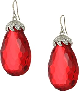 "1.5"" X 1"" Silver Rhinestone Top with Faceted Ruby Drop Fishhook Earrings"