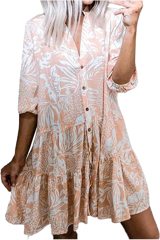 Sun Dresses Women Summer Women's Summer Casual Loose V-Neck Printed 3/4 Sleeve Cardigan Dress Womens Dresses