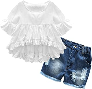 Lankey Girl Clothes Little Kids Short Sets Cotton Casual Coat Jeans 2 Pcs Pants Sets White