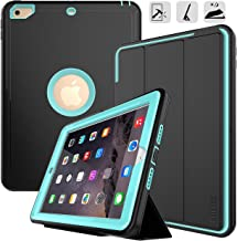 DUNNO New iPad 9.7 2017/2018 case Heavy Duty Full Body Rugged Protective Case with Auto Sleep/Wake Up Stand Folio & Three Layer Design for Apple iPad 9.7 inch 2017/2018 (Black+Light Blue)