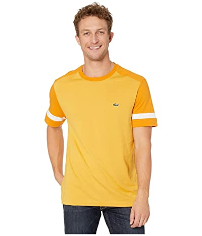 Lacoste Short Sleeve Jersey Color Block T-Shirt Regular (Darjali/Abricotine/Flour) Men