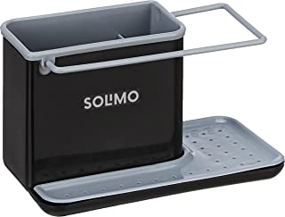 Amazon Brand - Solimo 3-in-1 Plastic Kitchen Sink Organiser for Soap, Sponge and Cleaning Brush, Black