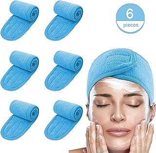 Spa Facial Headband Make Up Wrap Leaflai Adjustable Towel Tape Non-slip Stretchable Washable (6 PCS, Blue)