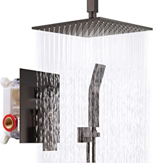 SR SUN RISE 12 Inch Venetian Bronze Shower System Brass Bathroom Luxury Rain Mixer Shower Combo Set Ceiling Mounted Rainfall Shower Head System Shower Faucet Rough-in Valve Body and Trim Included