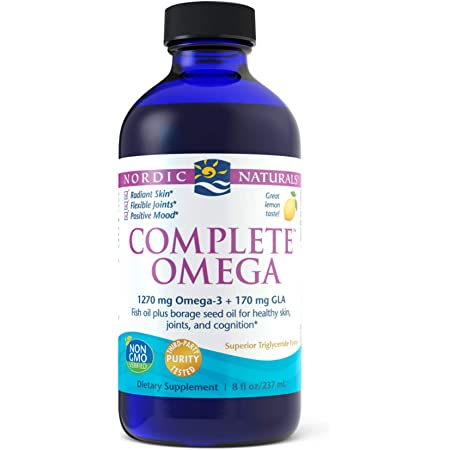 Nordic Naturals Complete Omega, Lemon Flavor - 1270 mg Omega-3-8 oz - EPA & DHA with Added GLA - Healthy Skin & Joints, Cognition, Positive Mood - Non-GMO - 48 Servings