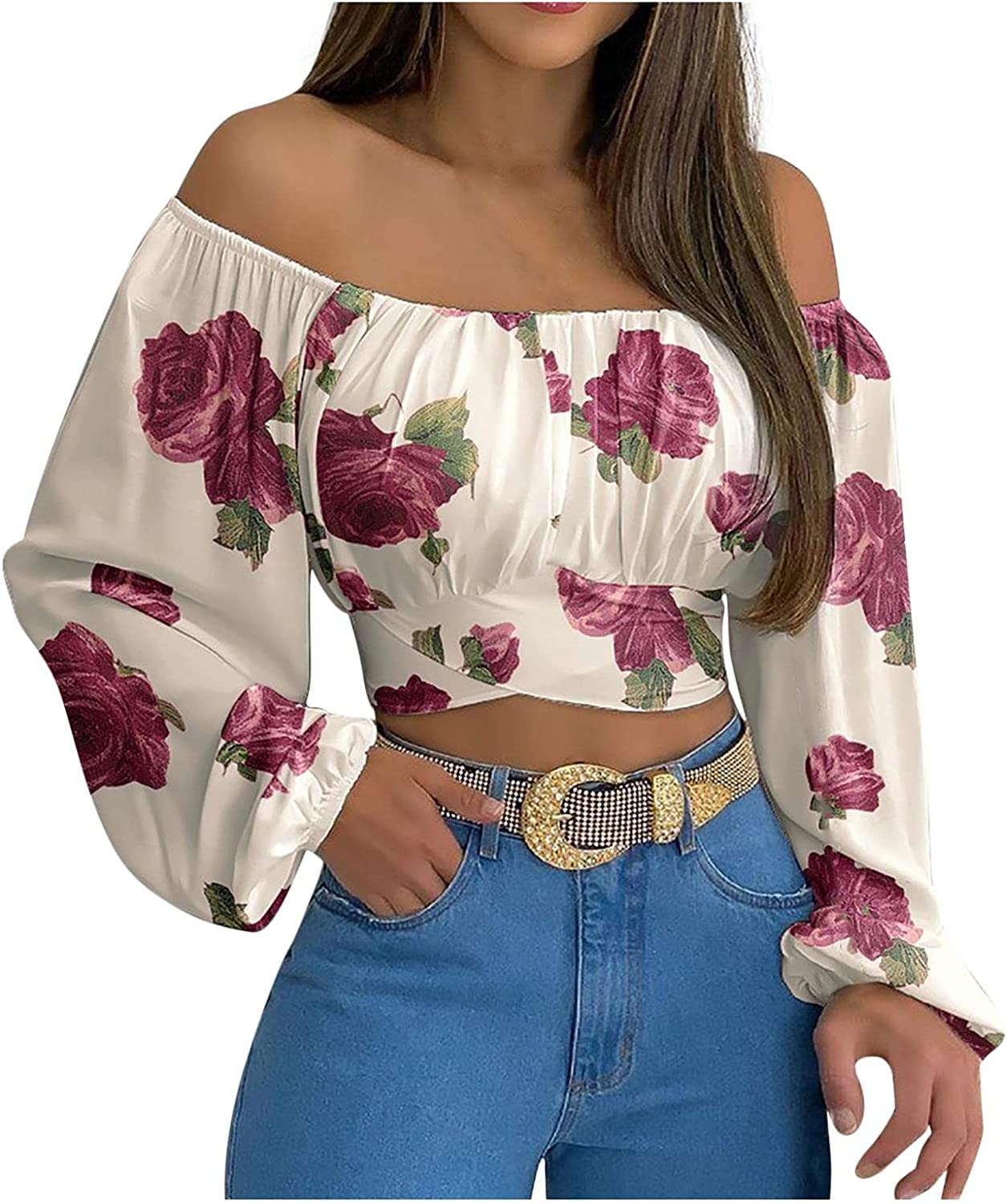 Crop Tops for Women Off Shoulder Lantern Sleeve Crop Shirt Sexy Solid Floral Print Blouse Strapless Ruched Tee