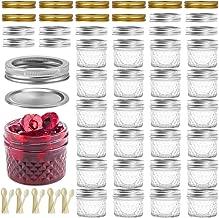 SXUDA Mason Jar BPA-Free 4oz Mini Canning Jars with Regular Lids and Bands Jelly Jars for Jam, Honey, Wedding Favors, Shower Favors, Baby Foods, DIY Magnetic Spice Jars, 25 PACK