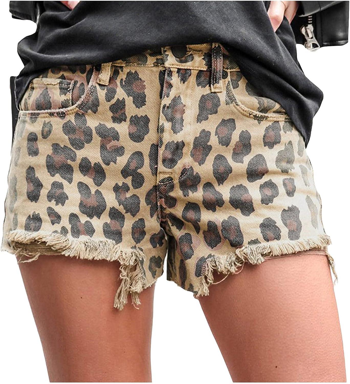 Euone_Clothes Jeans Pant for Women, Womens Casual Short Leopard Print Pants Loose Trousers Elastic Waist Jeans