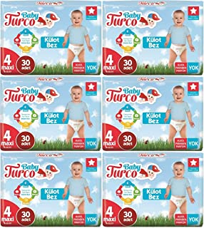 Baby Turco Külot Bebek Bezi Jumbo Beden:4 (8-18Kg) Maxi 180 Adet (6Pk*30)