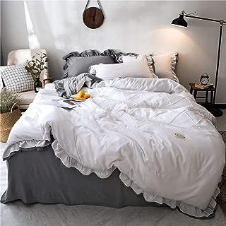 MooWoo Shabby Chic Bedding Set, Soft Lightweight Microfiber Duvet Cover, Vintage Farmhouse Style Ruffle Design, Reversible Duvet Cover with Pillow Shams, 3pcs (White, Queen Ruffled Duver)