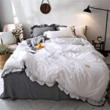 MooWoo Shabby Chic Bedding Set, Soft Lightweight Microfiber Duvet Cover, Vintage Farmhouse Style Ruffle Design, Reversible Duvet Cover with Pillow Shams, 3pcs (White, King Ruffled Duver)