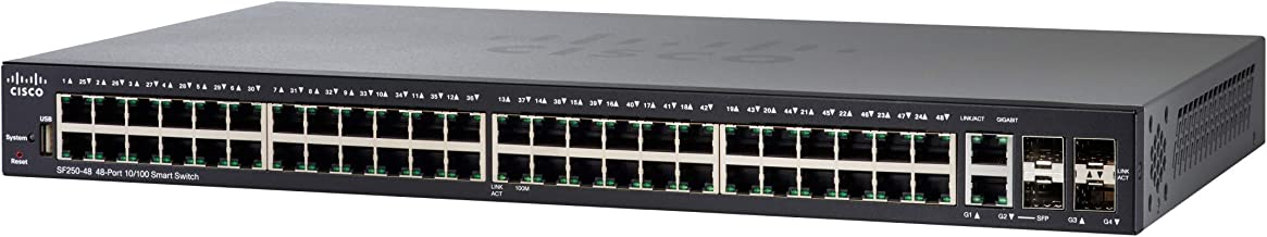 Cisco SF250-48 Smart Switch with 48 Fast Ethernet Ports and 4 Gigabit Ethernet (GbE) Ports, Limited Lifetime Protection (S...