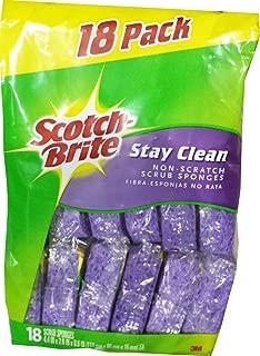3M Scotch-Brite Stay Clean Sponge, Purple, 18 Pack