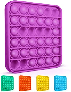 Colplay Pop Pop Fidget Toys,Push Pop Bubble Fidget Sensory Toy,Autism Special Needs Silicone Stress Relief Toy,Great Fidget Toy Sensory Toys Novelty Gifts for Girls Boys Kids Adults(Purple-Square)