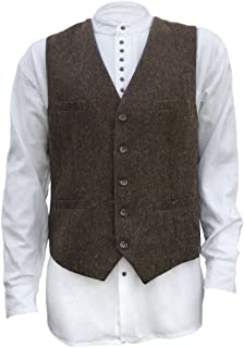 Men's Irish Full Back Herringbone Tweed Wool Blend Vest in 3 Traditional Color Choices