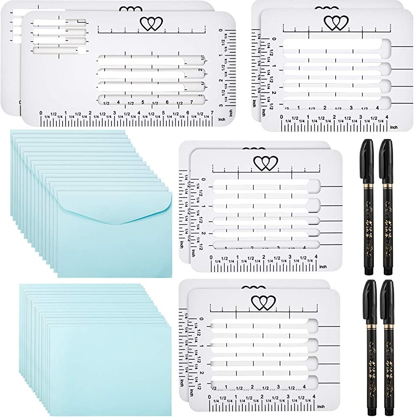 42 Pieces Envelope Stencil Envelope Templates Set 8 Envelope Addressing Guide with 15 Self Seal Envelopes 4 Brush Pens 15 Envelope Paper