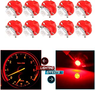 cciyu 10 Pack T5 B8.4D 5050 LED SMD Red Dash Auto Dash Gauge Instrument Panel Light Bulb/BMW E32 E34 E36 Dash Gauge Instrument LED Replacement fit for Dashboard Gauge Indicator Instrument Speedometer