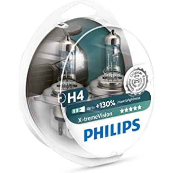 Philips X-treme Vision +130% Headlight Bulbs (Pack of 2) (H4 60/55W)