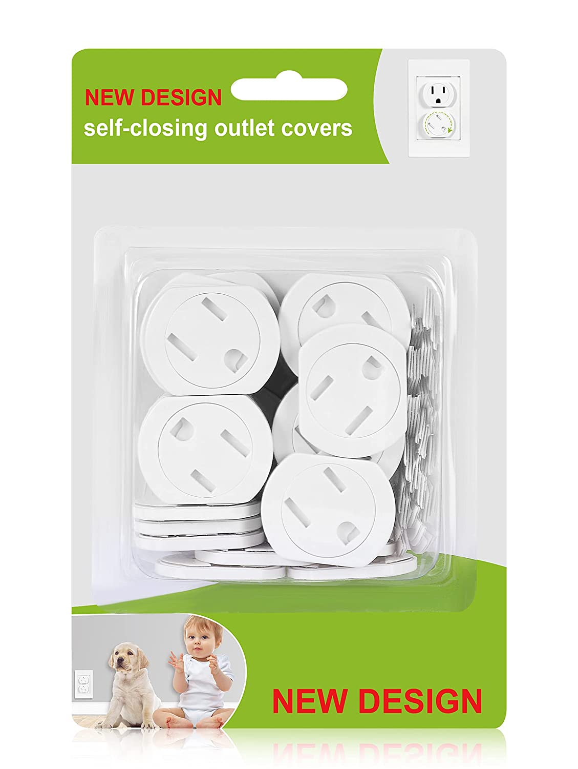 Outlet Covers Child Proof (42 Pack) Self-Closing Baby Proof Outlet Plug Covers Adhesive Design Electrical Socket Cover for Outlet Safety Outlet Protectors