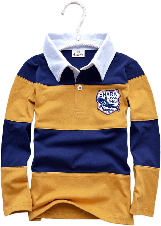 Only Faith Spring Autumn Children Boys Stripe Long Sleeve Polo T Shirt